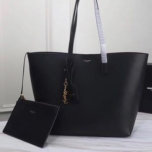 Saint Laurent YSL Black Leather Shopper Tote Bag